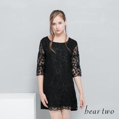 beartwo 網路獨家優雅婚禮蕾絲拼接透膚合身洋裝(二色)