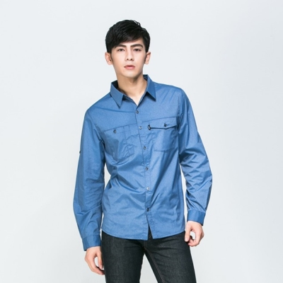 【ATUNAS 歐都納】男款吸溼排汗抗UV長短袖襯衫 A-S1504M 仿牛仔藍