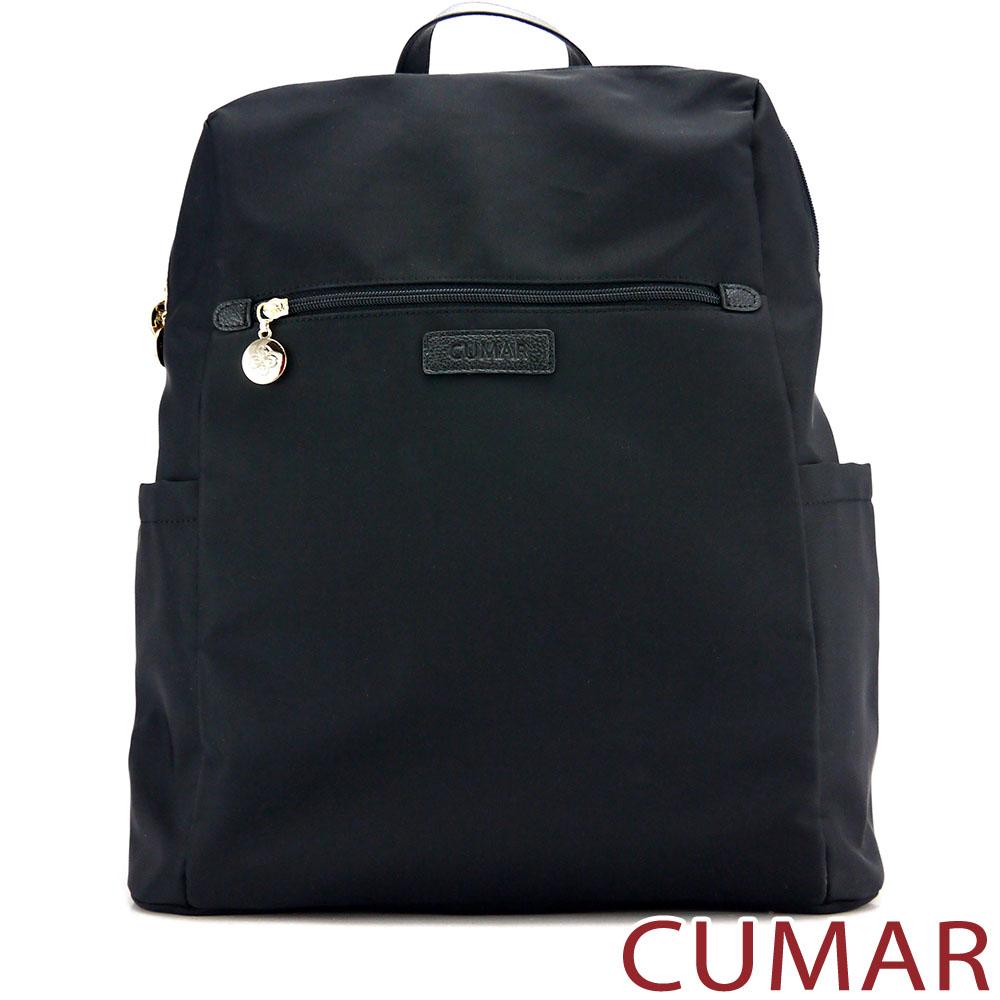 CUMAR-輕量防潑水尼龍大方後背包-黑