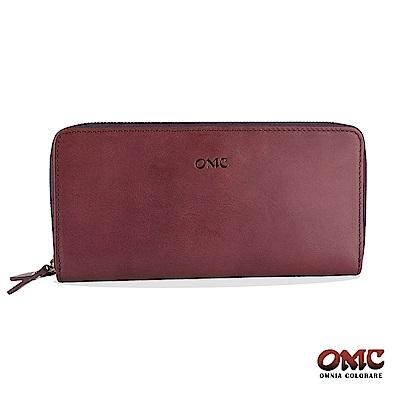 OMC 原皮系列-植鞣牛皮雙拉鏈25卡透明窗雙隔層零錢長夾-紫色