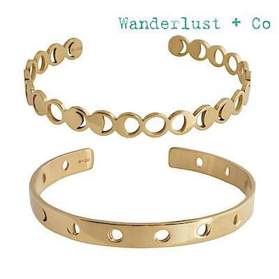 Wanderlust+Co 澳洲時尚品牌 陰時圓缺金屬手鐲組合