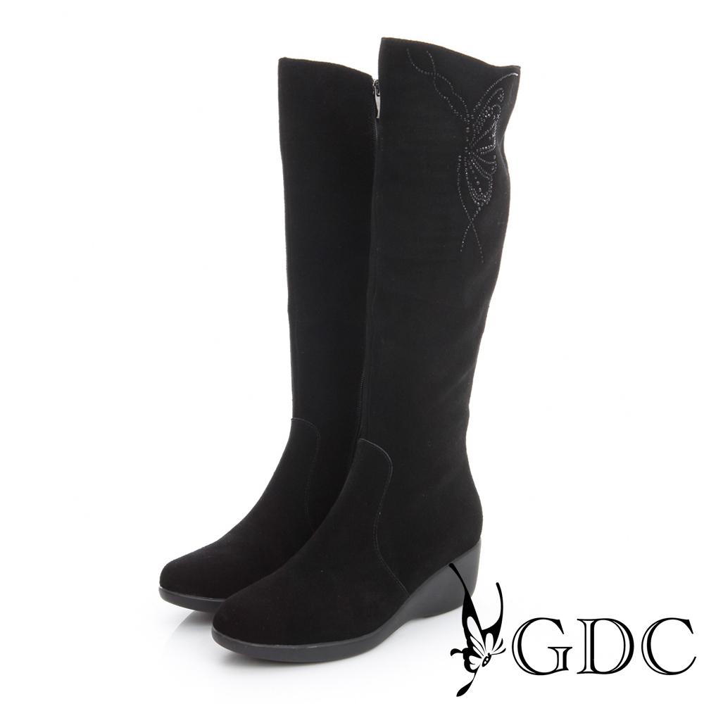 GDC個性-真皮拉鍊水鑽蝴蝶楔型跟長靴-黑色