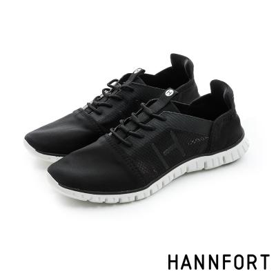 HANNFORT ZERO GRAVITY輕透網布氣墊休閒鞋-女-率性黑