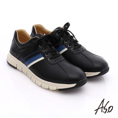 A.S.O 輕量抗震 真皮條紋配色活力休閒鞋 黑