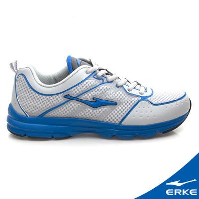 ERKE 鴻星爾克。男運動輕量慢跑鞋-淺灰/彩藍