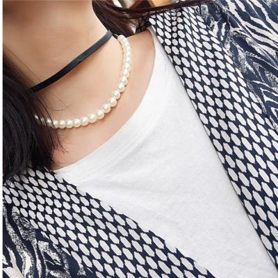 梨花HaNA 韓國雙層簡約珍珠的樣子皮革頸鍊CHOKER