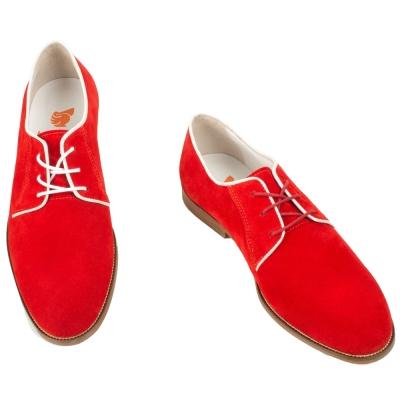 Bobbies 男士經典原色牛津鞋-橘紅