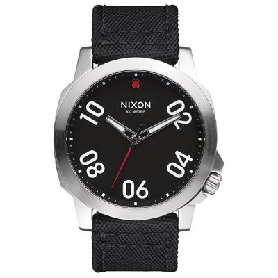 NIXON RANGER星際領航員時尚潮流腕錶-銀框黑x帆布帶/44mm