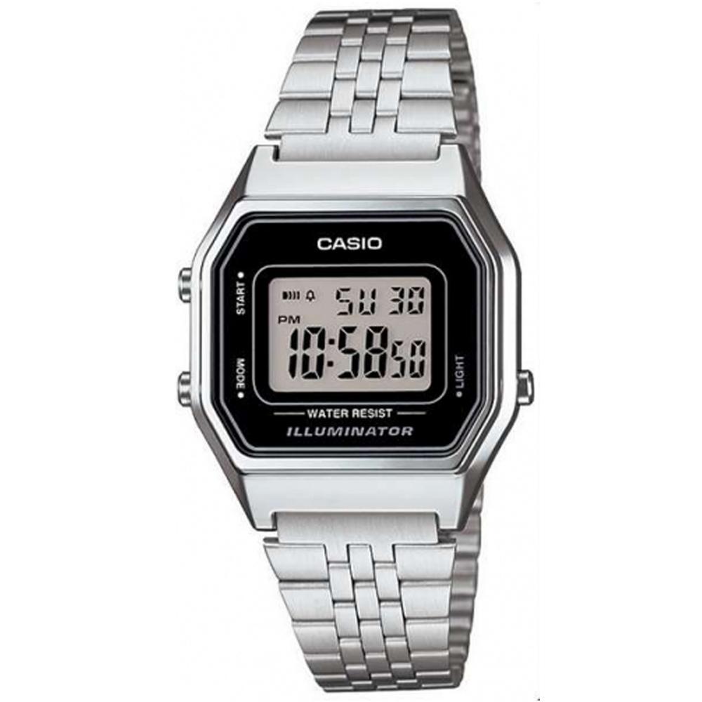 CASIO 經典復古數字型電子錶(LA680WA-1)-銀色x黑框/28.6mm