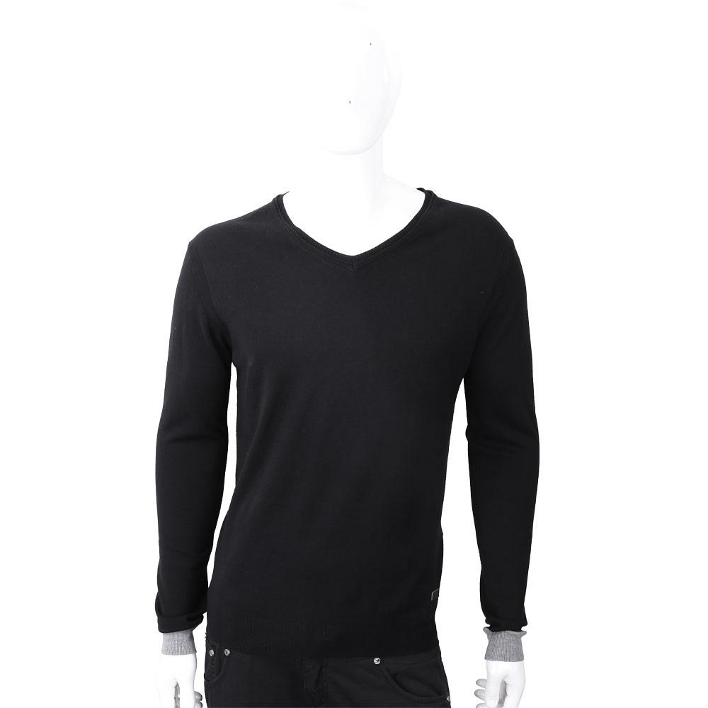 TRUSSARDI V領撞色細節皮革標黑色針織衫
