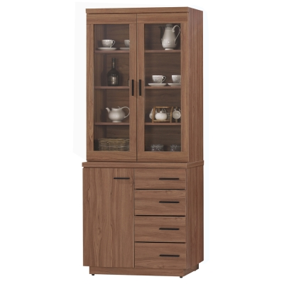 愛比家具 堤比<b>2</b>.7尺柚木色餐櫃全組