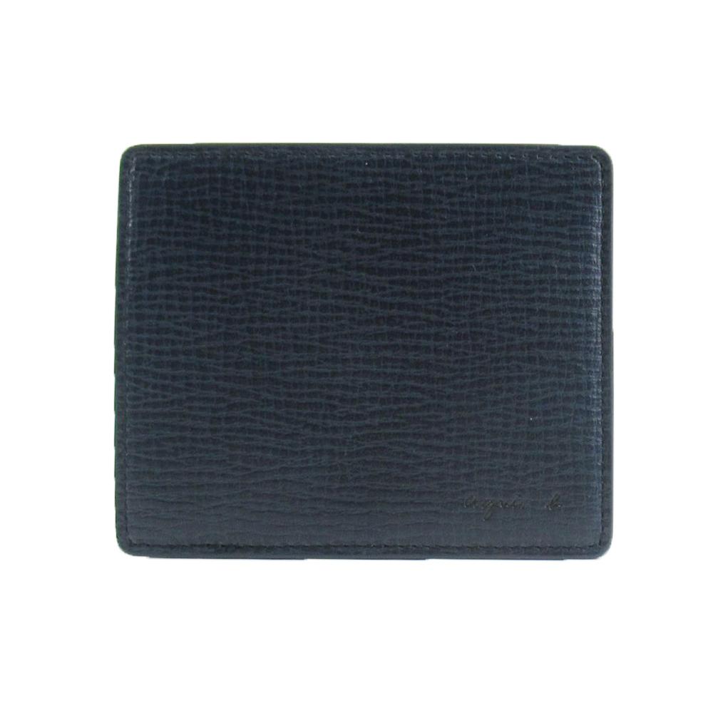 agnes b.仿樹壓紋輕便票卡夾(深藍)