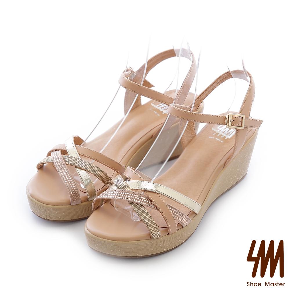 SM-全真皮-繽紛交叉顯瘦中高楔型涼鞋-杏色