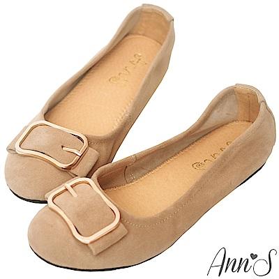 Ann'S高雅氛圍-金色方扣全真皮柔軟平底娃娃鞋-棕
