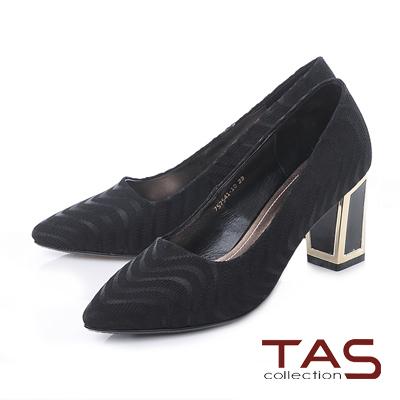 TAS 流線緞面金屬後跟尖頭高跟鞋-華麗黑