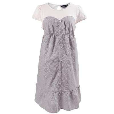 【ohoh-mini 孕婦裝】拼接假兩件荷葉邊孕婦洋裝