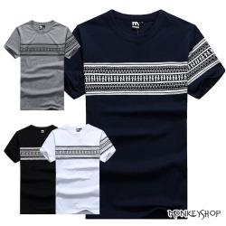 小猴子的賣場 MIT情侶潮流圖騰民族風格印花棉質短袖T恤-4色