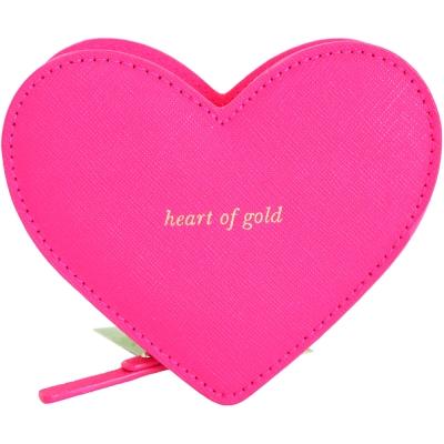Kate Spade Be Mine Heart 雙色愛心造型防刮皮革零錢包(桃x紅)