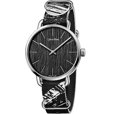 CK CALVIN KLEIN Even 超然系列黑色木質感大理石紋錶帶手錶-42mm