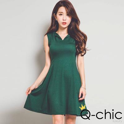 正韓 V領無袖立體傘擺洋裝 (共六色)-Q-chic