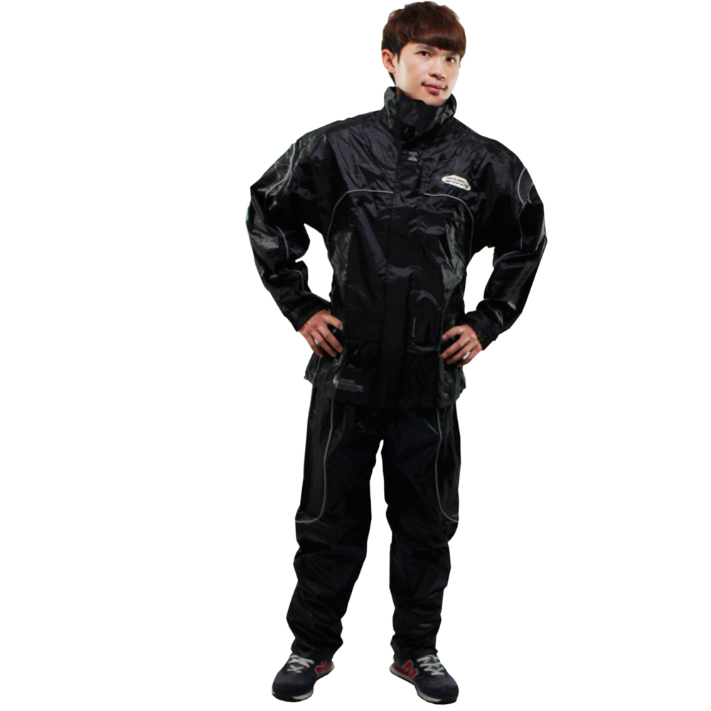 [快]天龍牌 新重裝上陣F1機車型風雨衣-黑色+通用鞋套