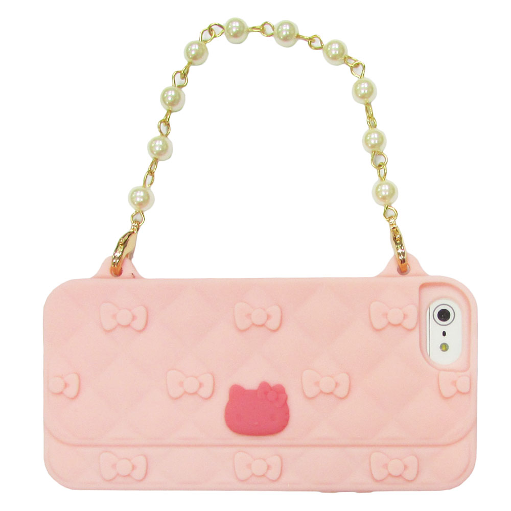 Gourmandise iPhone5/5S Kitty 晚宴包保護套(粉底/桃紅Kitty)