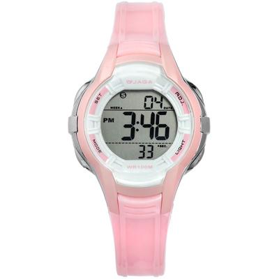 JAGA 捷卡 電子運動冷光照明計時鬧鈴防水100M橡膠手錶-白粉色/37mm