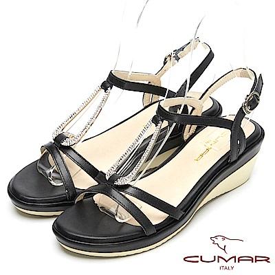 CUMAR舒適真皮-經典造型真皮厚台涼鞋-黑