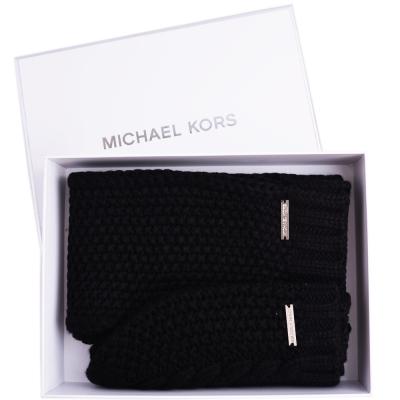 MICHAEL KORS 素面粗針織圍巾/毛帽禮盒組-黑