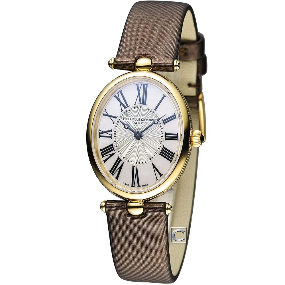 CONSTANT 康斯登百年經典系列典雅女錶-白x咖啡色錶帶/25x30mm