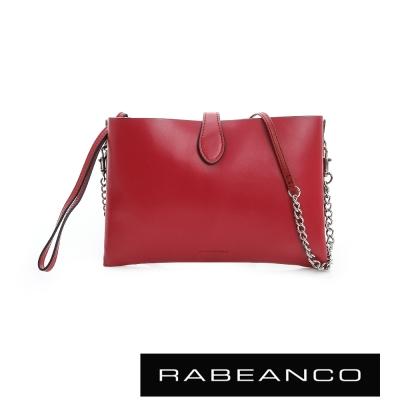 RABEANCO-迷時尚牛皮系列多夾層鏈帶手拎包-紅