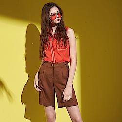 ICHE 衣哲 時尚翻領雙口袋造型無袖襯衫上衣-橘紅