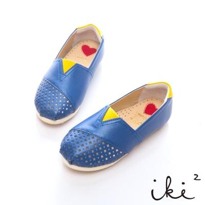 iki2童鞋-浪漫鏤空花仙子平底鞋-藍