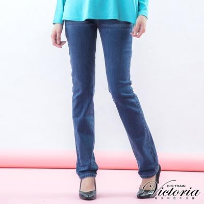 Victoria 弧形美臀中高腰直筒褲-女-中藍