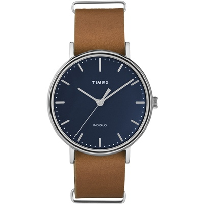 TIMEX 天美時週末Fairfield系列時尚手錶-藍x咖啡/41mm