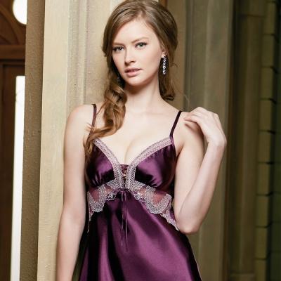 羅絲美睡衣 - 睛艷奢華細肩深V洋裝睡衣 (浪漫紫)
