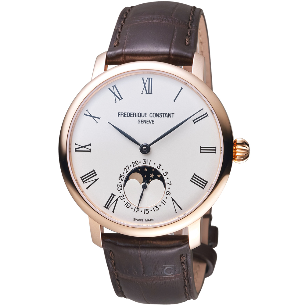 康斯登CONSTANT自製機芯超薄月相腕錶-42mm/白x咖啡
