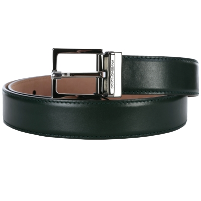 DOLCE & GABBANA 方型金屬釦頭皮革腰帶(深綠色)