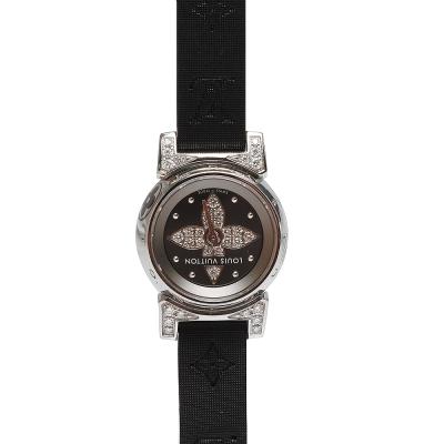 LV Tambour Bijou 原花紋錶帶鏡面鑲鑽石英仕女腕錶-黑/16mm