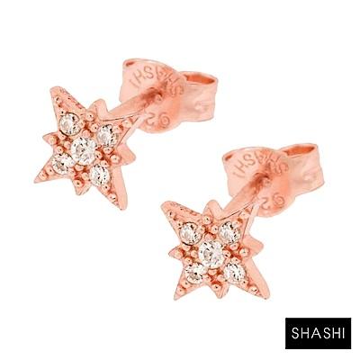 SHASHI 紐約品牌 Starburst 鑲鑽光芒星星耳環 925純銀鑲18K玫瑰金