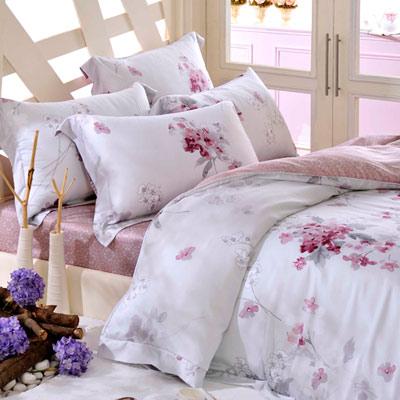 義大利La Belle 幻采紫語 加大天絲八件式兩用被床罩組