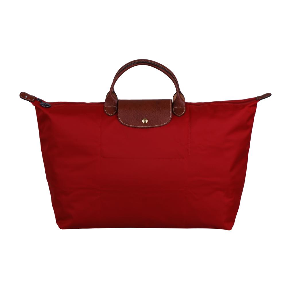Longchamp Le pliage系列短把拉鍊摺疊旅行包(中/紅)
