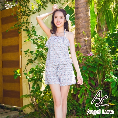 【Angel Luna日本泳裝】荷葉邊收腰連身褲三件式比基尼泳衣-圖騰藍