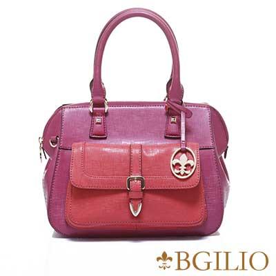 義大利BGilio-十字紋牛皮雙色典雅手提包(附小包)-桃紅1965.003-14
