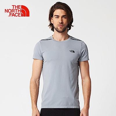 The North Face北面男款灰色排汗透氣運動短T恤
