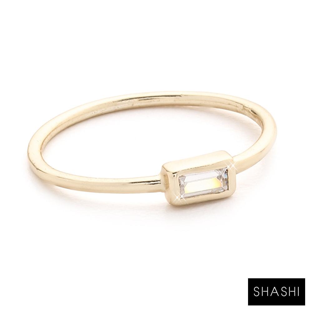 SHASHI 紐約品牌 Baguette 方形單鑽戒指 925純銀鑲18K金