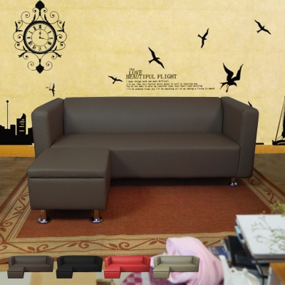 時尚屋 小龐帝克6尺三人座L型鐵腳沙發 多色可選 寬180cm-免組