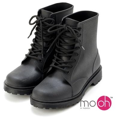 mo.oh -素面皮革感輕量荔枝紋綁帶馬丁雨鞋雨靴-黑