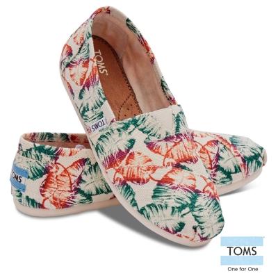 TOMS 熱帶風格帆布懶人鞋-女款(米)