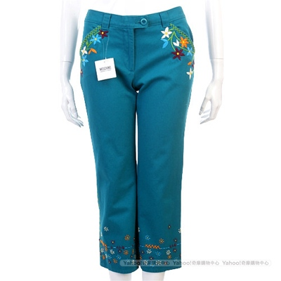MOSCHINO藍綠色繡花七分褲